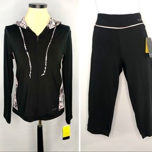 LuLu NWT Zippered Hooded Sweat Jacket & Capri. Lg